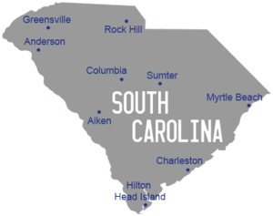 Karte South Carolina, Südstaaten